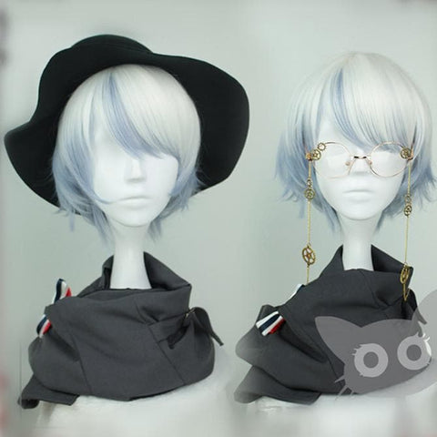 White Blue Mixed Harajuku Short Wig SP167796