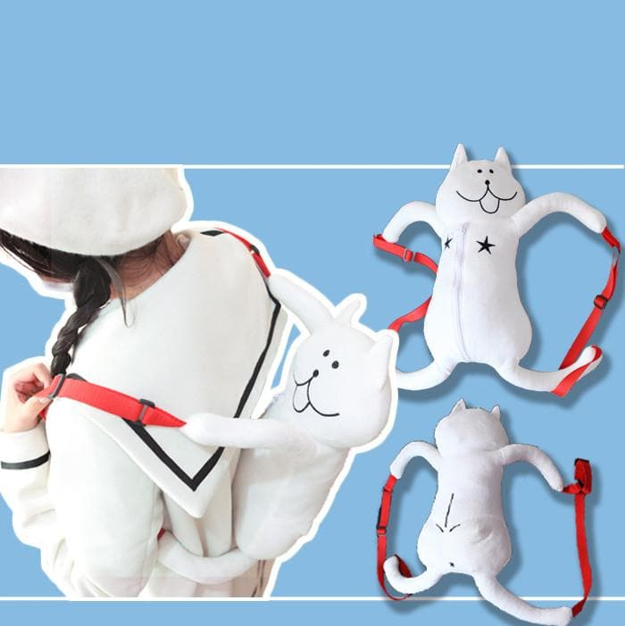 White Cat Plush Backpack SP164875