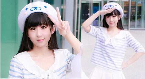 [Reservation] White Cutie Seal Beret Hat SP153426 - SpreePicky  - 2