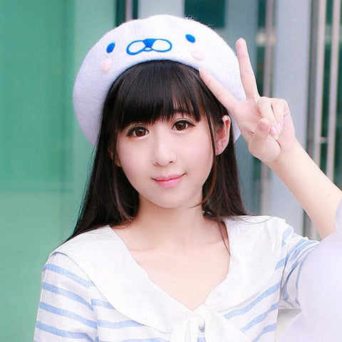 [Reservation] White Cutie Seal Beret Hat SP153426