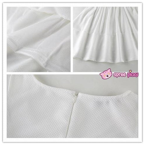 [S-XL] White Elegant Chiffon Dress SP151816 - SpreePicky  - 4