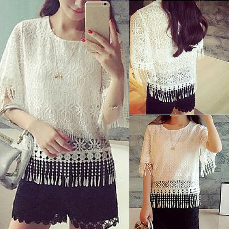 White Elegant Hollow Out Tassel Lace Shirt SP165630