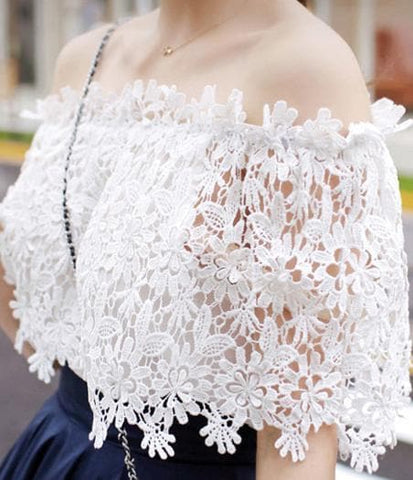 White Elegant Sexy Lace Short Sleeve Shirt SP165542