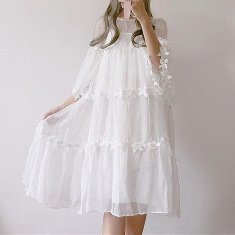 White Fairy Flower Princess Dress SP1812203