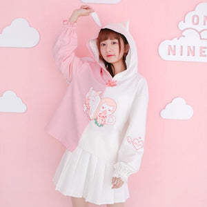 White Kawaii Bunny Kitty Love Hoodie Jumper SP1811992