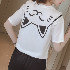 White Kawaii Cat On Back T-Shirt SP1710185