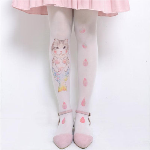 Kawaii Mermaid Cat and Strawberry Drops Tights SP167399