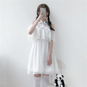 White Kawaii Falbala Bat Dress SP1812599
