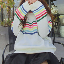 Load image into Gallery viewer, White Kawaii Rainbow Sweater SP1812635