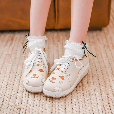 White Kawaii Tiger Bandage Shoes SP168363