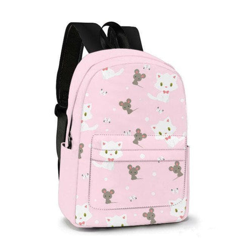 White Kitten and Grey Mouse Custom Made Backpack SP179607