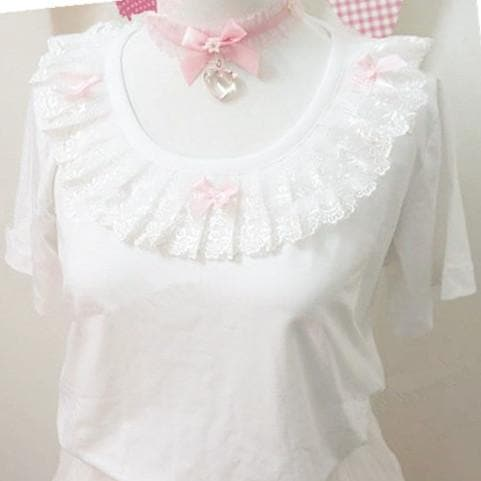 a2fe4959ceaf1e White Lolita Bow Lace Short Sleeve Top SP167030