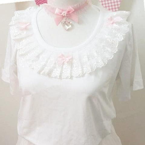 White Lolita Bow Lace Short Sleeve Top SP167030