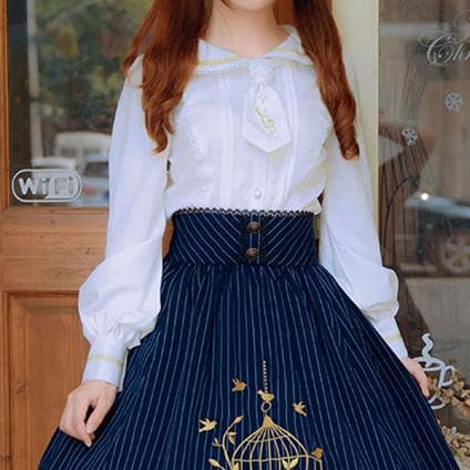 White Lolita Lace Long Sleeve Blouse Shirt SP179295