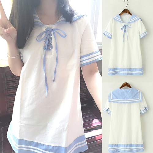 1415c39372d7a3 White Lolita Sailor Style Short Sleeve Dress SP167034