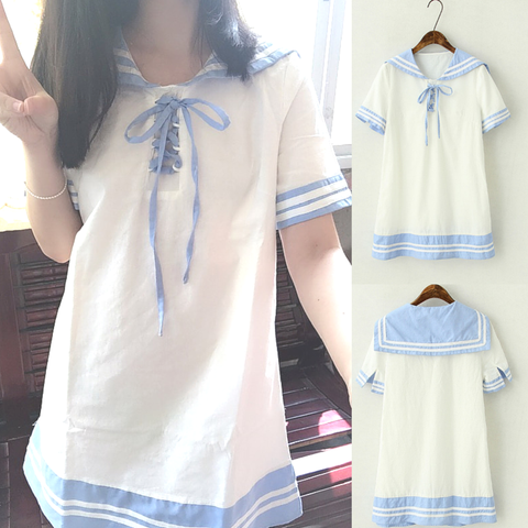 White Lolita Sailor Style Short Sleeve Dress SP167034