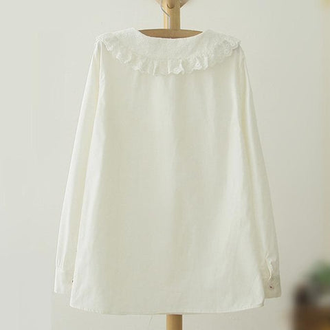 White Mori Girl Doll Collar Lace Blouse SP165106