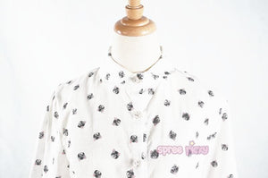White Mori Girl Kawaii Neko Cats Blouse SP165163