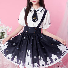 Load image into Gallery viewer, White Ribbon Sailor Blouse/Suspender Skirt SP1710119