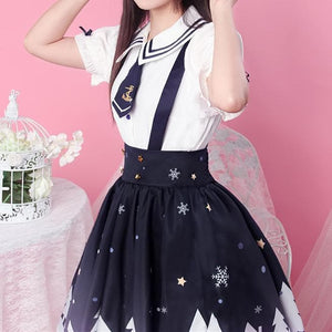 White Ribbon Sailor Blouse/Suspender Skirt SP1710119
