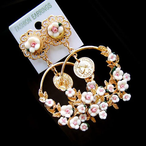 White Rose Floral Vacation Earring SP152542 - SpreePicky  - 2