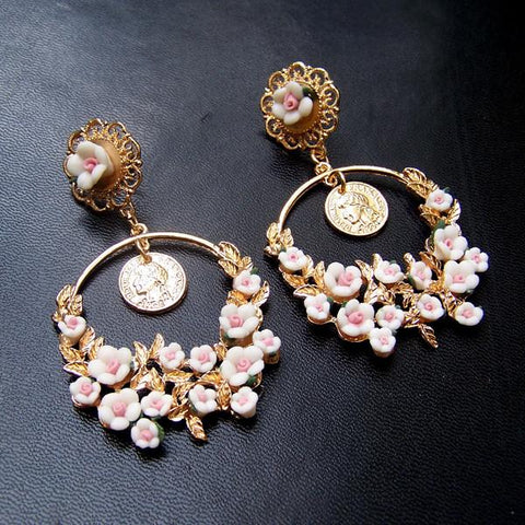 White Rose Floral Vacation Earring SP152542 - SpreePicky  - 4