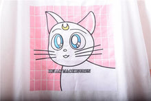 Load image into Gallery viewer, White Sailor Moon Cat Pattern T-Shirt SP167223 - SpreePicky FreeShipping