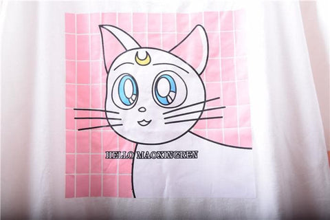 White Sailor Moon Cat Pattern T-Shirt SP167223