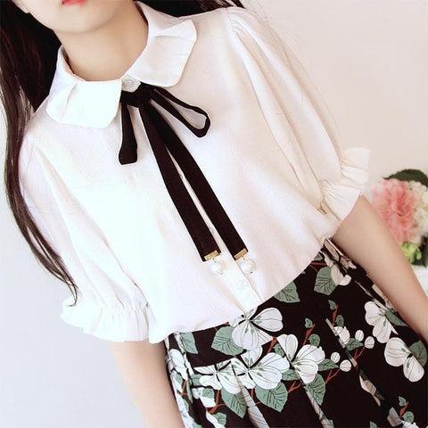 White Sweet Bowknot Mid-Sleeve Shirt SP166704