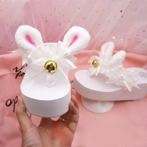 White Sweet Bunny Bell Slippers SP1710194