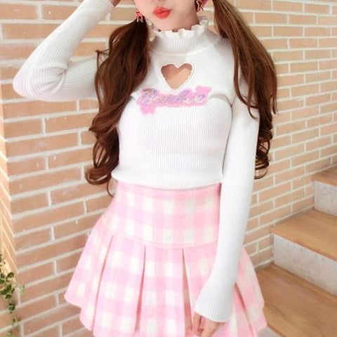 White Hallow Out Knitted Sweater SP168103