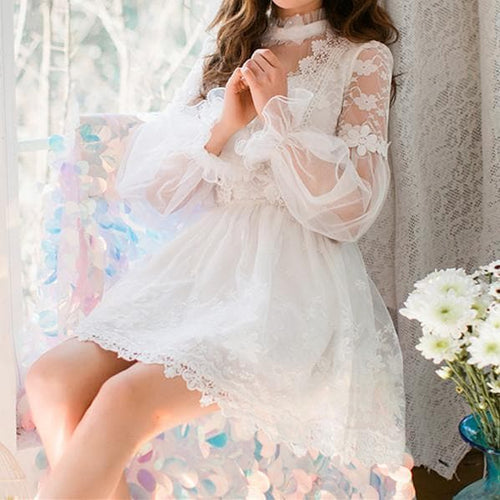 White Sweet Hollow Out Lace Dress SP179228