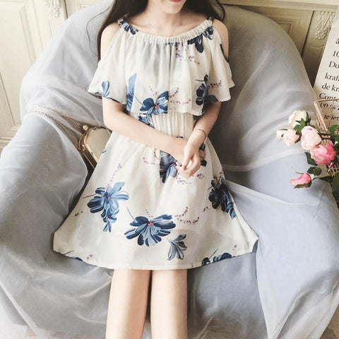 White Sweet Wash Painting Flower Dress SP1710104
