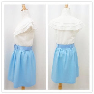 S/M White Top Joint Blue Skirt Chiffon Dress With Belt SP140917 - SpreePicky  - 2
