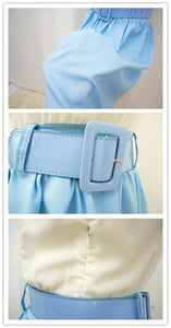 S/M White Top Joint Blue Skirt Chiffon Dress With Belt SP140917 - SpreePicky  - 3