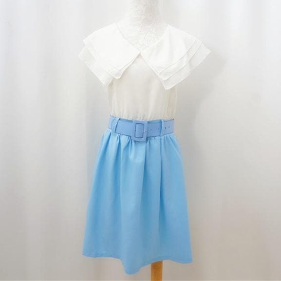 S/M White Top Joint Blue Skirt Chiffon Dress With Belt SP140917 - SpreePicky  - 1