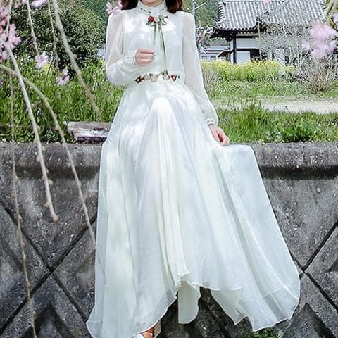 White Vintage elegant Spring long Sleeve Dress SP179000