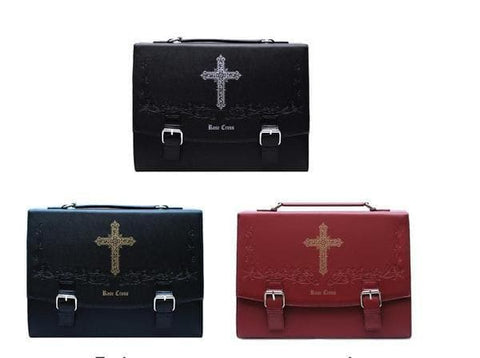 Wine/Black Gothic Rose Cross 3 Ways Used Bag SP154679