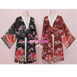 Wine/Black/Beige Sakura Bathrobe Overcoat Gallus Pajamas Set SP178901