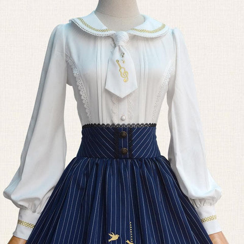 Wine/Blue Stripe Lolita Embroidered Skirt SP179252