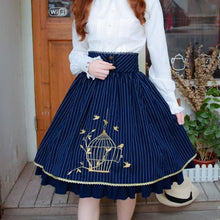 Load image into Gallery viewer, Wine/Blue Stripe Lolita Embroidered Skirt SP179252
