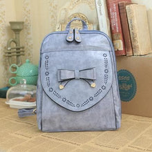 Load image into Gallery viewer, Wine/Light Blue Sweet Bow Backpack SP179623