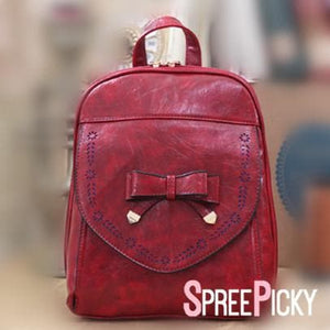 Wine/Light Blue Sweet Bow Backpack SP179623