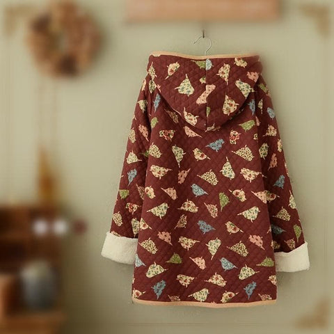 Wine/Navy Mori Girl Little Birds Fleece Hoodie Coat SP154078 - SpreePicky  - 5