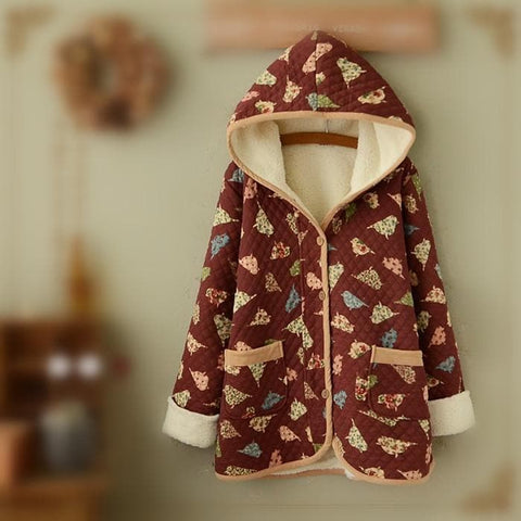 Wine/Navy Mori Girl Little Birds Fleece Hoodie Coat SP154078 - SpreePicky  - 4