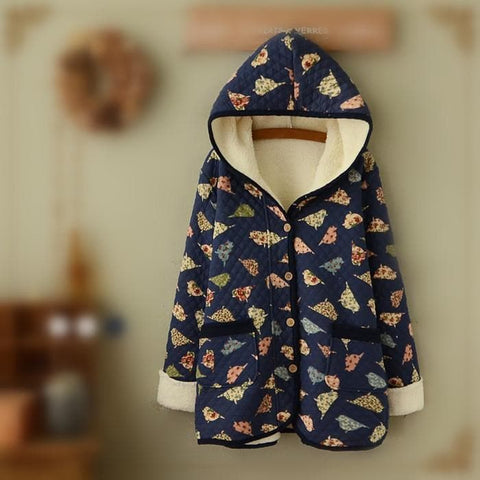 Wine/Navy Mori Girl Little Birds Fleece Hoodie Coat SP154078 - SpreePicky  - 3