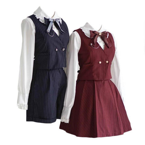 Wine/Navy Victorian Preppy style Outfit for Suit/Waistcoat/Suspender Skirt SP179114