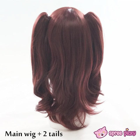 Wine Caramel Mixed Color Long Wig with 2 Pony Tails SP152050 - SpreePicky  - 4