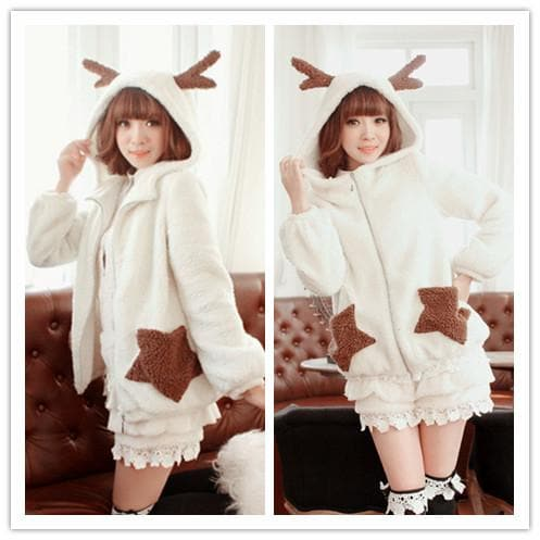 Winter Fluffy Lovely Deer Horn Hoodie Beige Coat SP130231 - SpreePicky  - 1