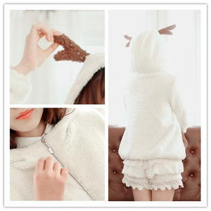 Winter Fluffy Lovely Deer Horn Hoodie Beige Coat SP130231 - SpreePicky  - 2